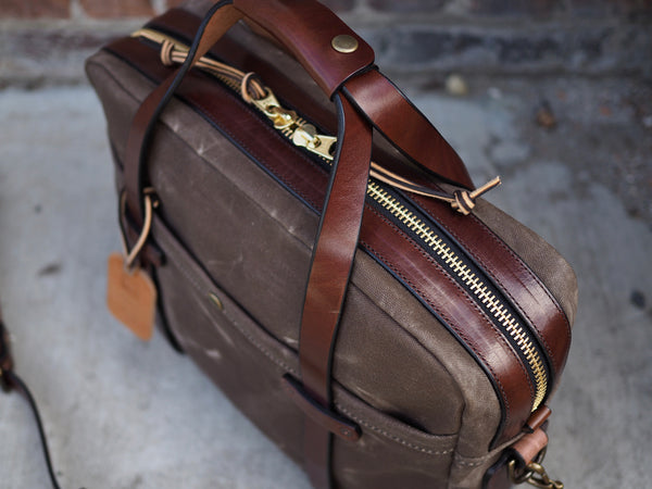 Briefcase in Ranger Tan Waxed Canvas/Cacao Harness