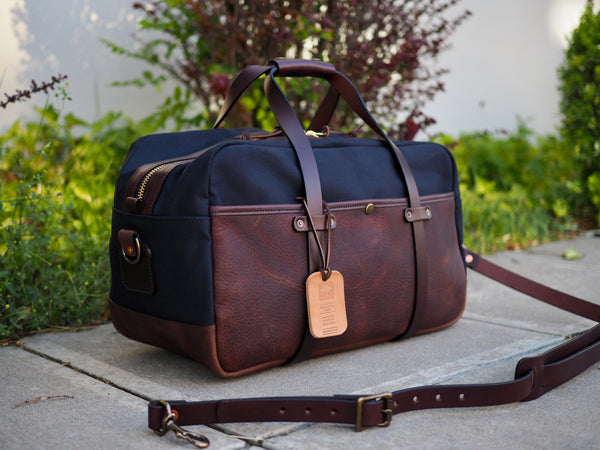 "Hybrid 20"" Weekender Duffle in Dark Brown Olive Tanned/ Dry Wax Dark Navy Twill"