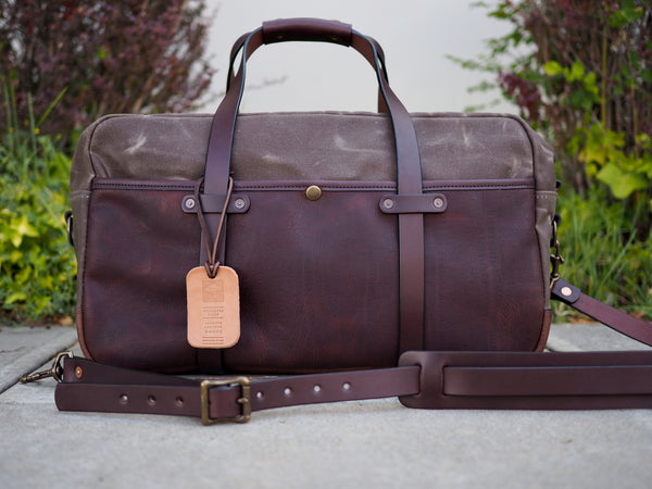 "Hybrid 20"" Weekender Duffle in Ranger Tan Waxed Canvas/Milled Truffle German Leather"
