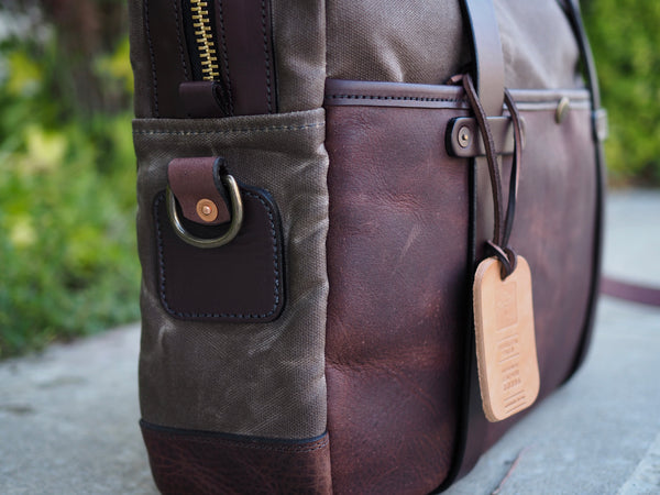 Hybrid Briefcase in Milled Truffle German Leather/Ranger Tan Waxed Canvas