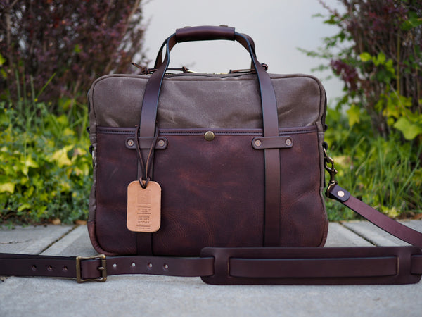 Hybrid Briefcase in Dark Brown Olive Tanned/Ranger Tan Waxed Canvas