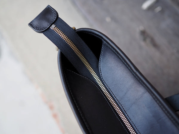 All Leather Tote in Black Essex Horween