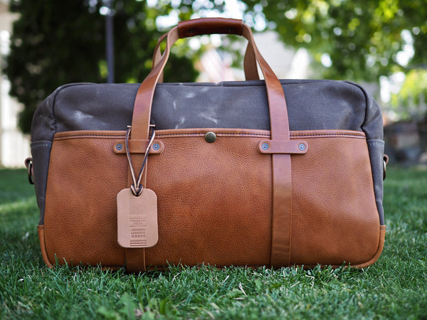 "Hybrid 20"" Weekender Duffle in Bourbon Olive Tanned/Ranger Tan Waxed Canvas"