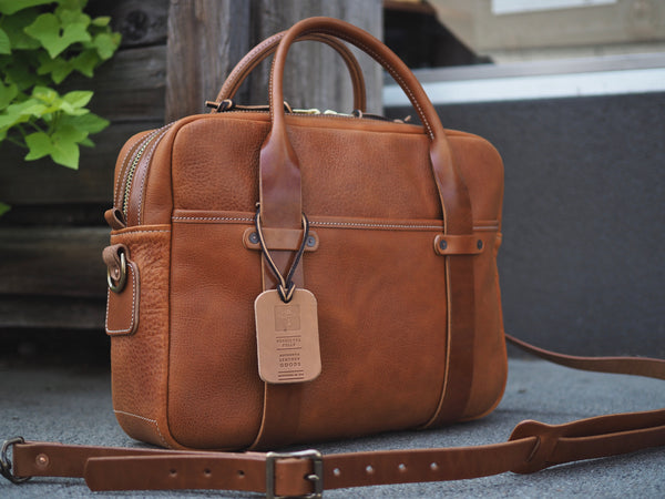 Milled Bourbon/Harness Leather Briefcase