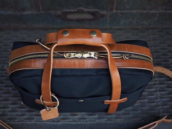Standard Briefcase in Dry Wax Black Twill/Glazed Amber Harness