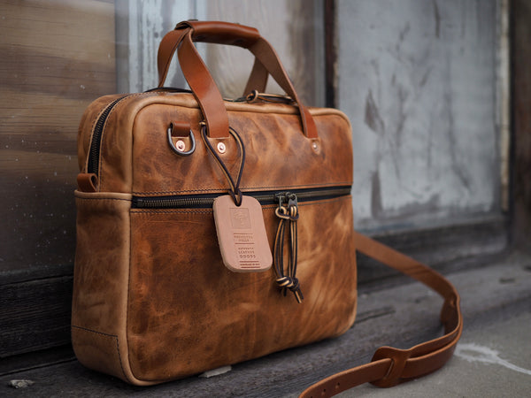 Executive Small Briefcase in Horween Natural Dublin Horsehide
