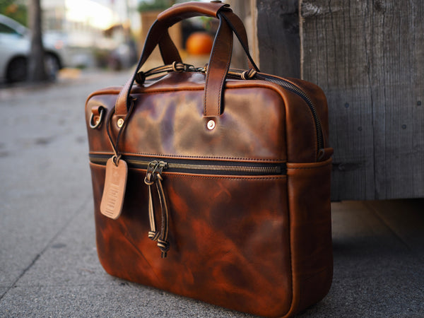 Executive Small Briefcase in Whiskey Regency Calf