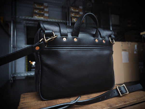 All Leather Field Bag in Horween Black Lux Horsehide