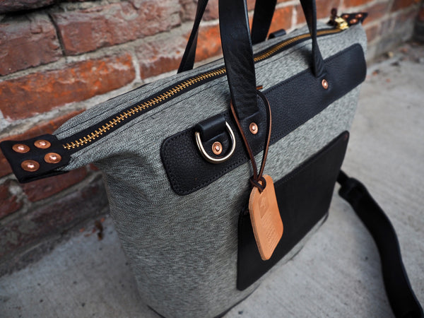 Day Bag in Olive Salt and Pepper/Black Olive Tanned Leather