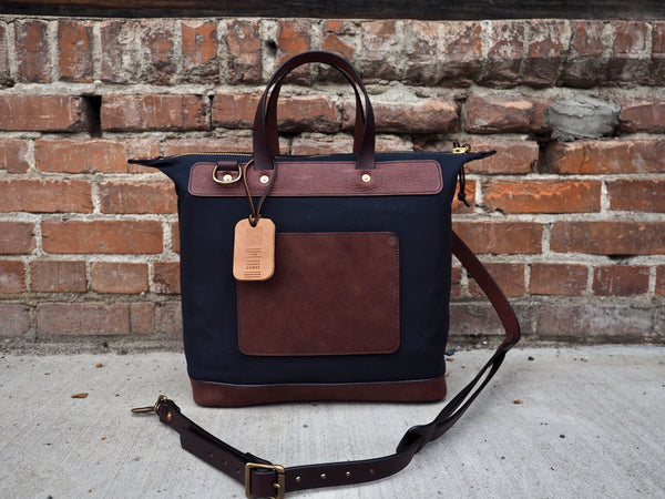 Day Bag in Dark Navy Twill and Milled Truffle German Leather