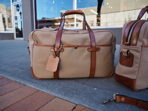 "20"" Weekender Duffle in Sand Canvas/Glazed Amber Harness"
