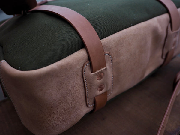Olive Japanese Selvedge and Horsehide Briefcase