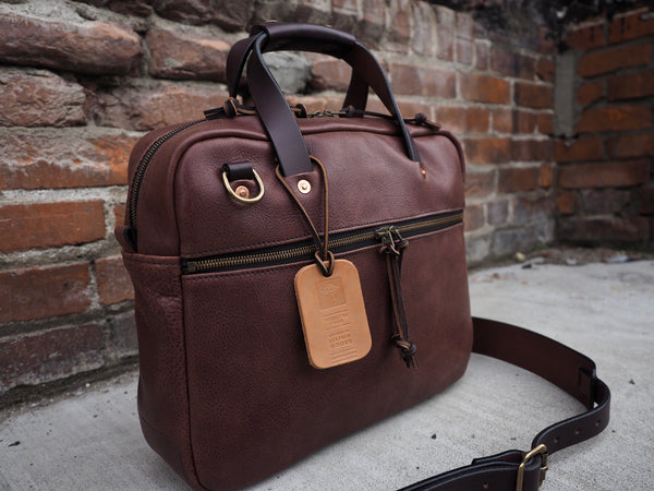 Executive Small Briefcase in Milled Truffle German Leather