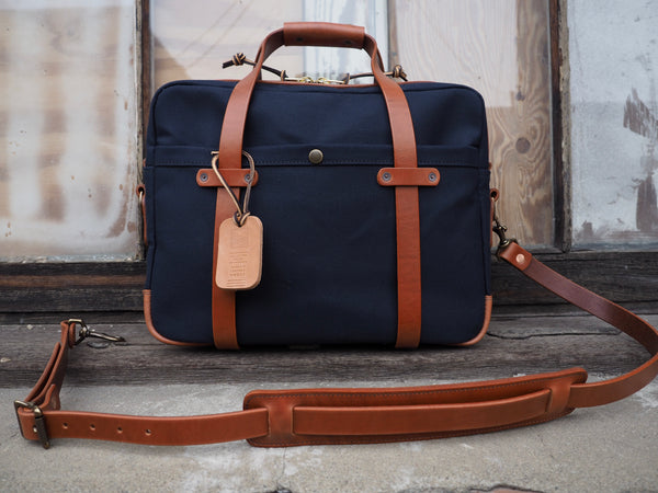 Standard Briefcase in Dark Navy Dry Wax Twill/Horween Cognac Auburn Leather