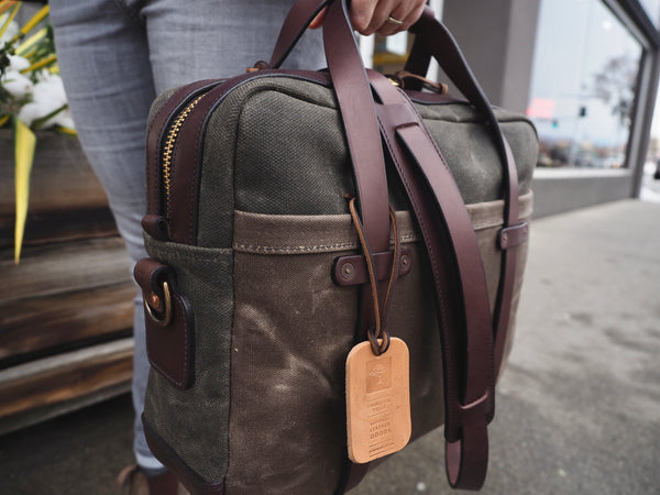 Briefcase in Merger Heavy Olive/Ranger Tan Waxed Canvas