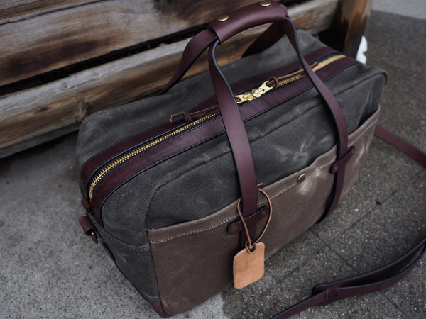 "20"" Weekender Duffle in Merger Heavy Olive/Ranger Tan Waxed Canvas"