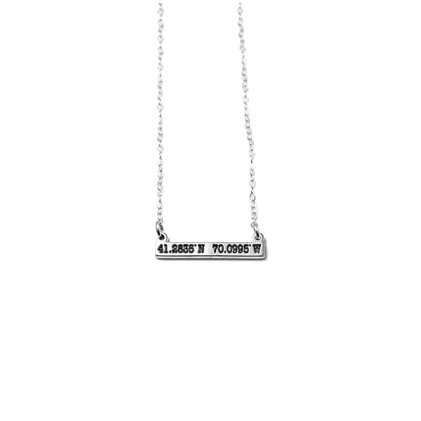 Nantucket Micro Coordinates Bar Necklace