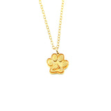 14k gold plate or sterling silver paw print charm or necklace with the island of nantucket impressed on the lower paw.