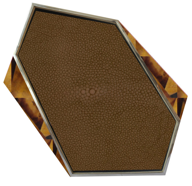 Brown Shagreen & Tiger Shell