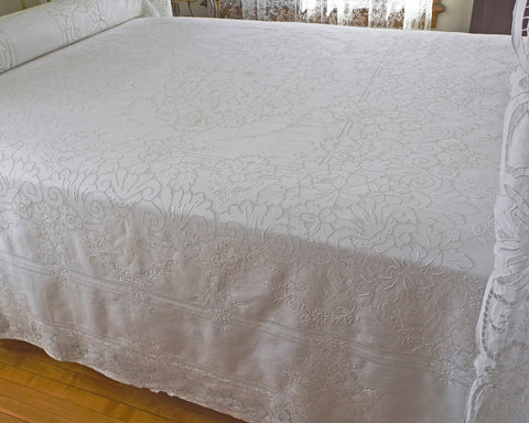 pure linen bedcover, hand embroidered with high quality drawnwork embroidery.