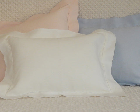 Boudoir pillow sham in white, pink or blue, made of 100% linen and embellished  with hand drawn hemstitch.