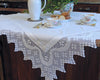 "pure linen tablecloth decorated with hand drawn hemstitch and 10""wide hand crochet border in french country style."