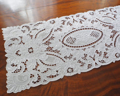 Pure linen table runner or dresser scarf decorated with amazing quality of hand embroidery, using cut work, drawn work and satin-stitch.