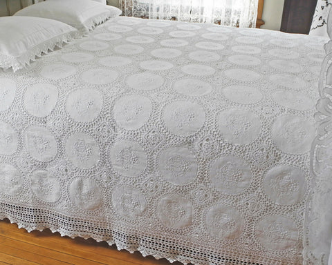 "Victoria bedcover. Hand embroidery combined with hand crochet. 110""x96""approximately"