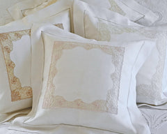"Square pillow sham in white linen with 2"" flange, hand drawn hemstitch and lace inset."