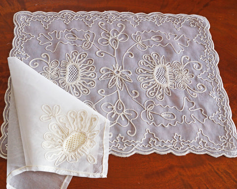 Placemat and napkin set embroidered with sunflower like design on 100% cotton organza. Finished with lovely scalloped edge.