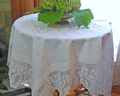 "52"" square linen tablecloth embroidered in French Country style with 6"" crochet border and center crochet inset."