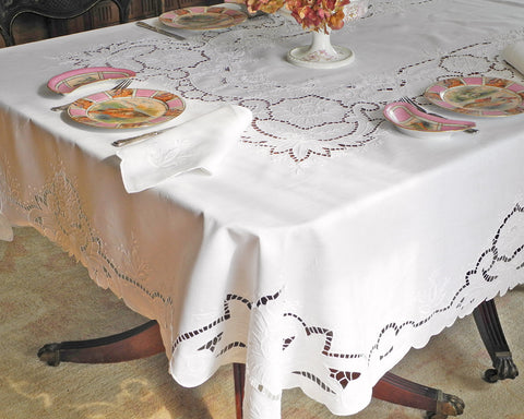 Pure linen tablecloth hand embroidered with cut work style embroidery on fine quality of linen.