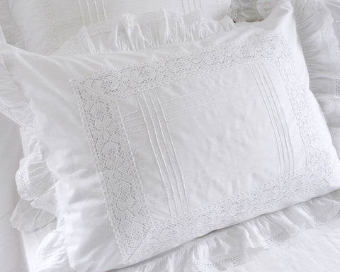 Vintage style pillow sham with tucks, lace insets and ruffle. Standard size.