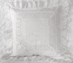 "Vintage Sham 18"" Square with 3"" ruffle"