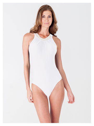 Lori Coulter Women's Cream High Neck, Over the Shoulder One Piece Swimsuit with Open Back