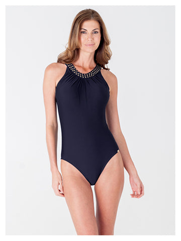 Lori Coulter Women's Black High Neck, Over the Shoulder One Piece Swimsuit with Open Back