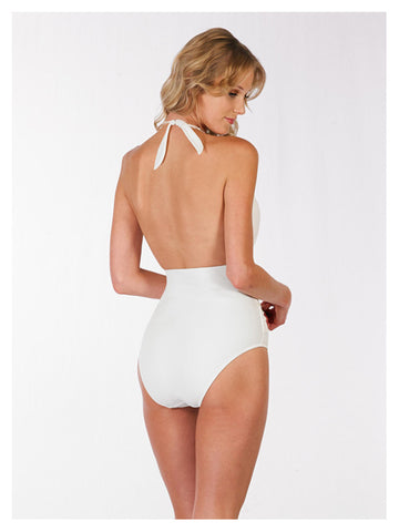 Lori Coulter Women's Cream Plunging Deep V Neckline Shirred Wrap Halter One Piece Swimsuit