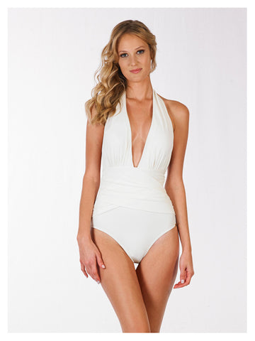 The Ann Plunge Shirred Maillot
