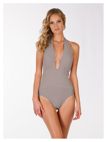 Lori Coulter Women's Taupe Plunging Deep V Neckline Shirred Wrap Halter One Piece Swimsuit