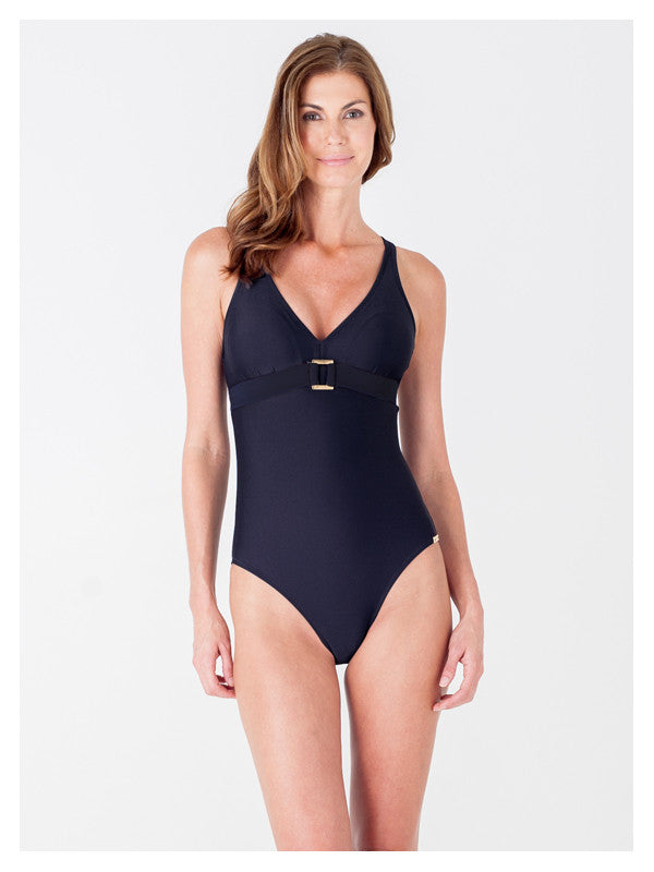 Lori Coulter Women's Black V Neck One Piece Swimsuit with Criss Cross Straps