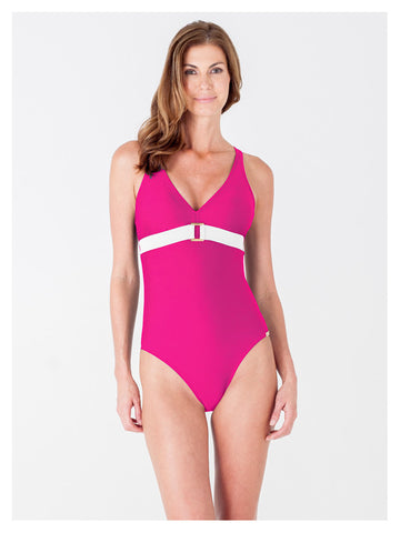 Lori Coulter Women's Pink and Cream V Neck Color Blocked One Piece Swimsuit with Criss Cross Straps