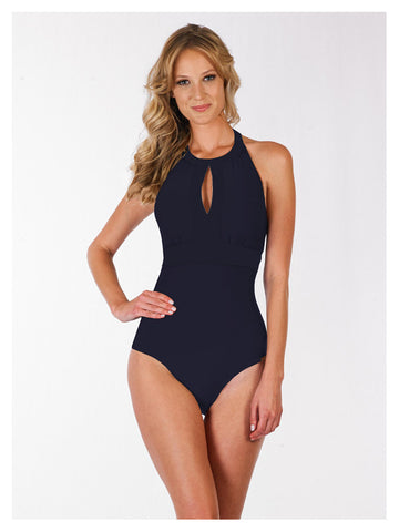 Lori Coulter Women's Black High Neck Key Hole One Piece Swimsuit