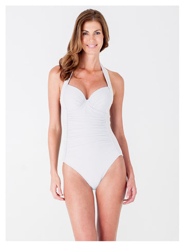 Lori Coulter Women's Cream Underwire Retro Halter One Piece Swimsuit