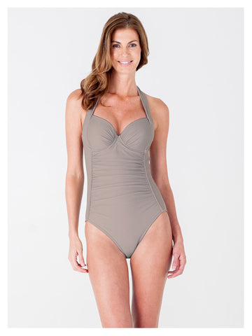 Lori Coulter Women's Taupe Underwire Retro Halter One Piece Swimsuit