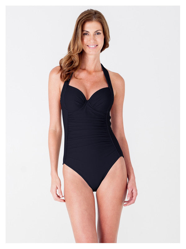 Lori Coulter Women's Black Underwire Retro Halter One Piece Swimsuit