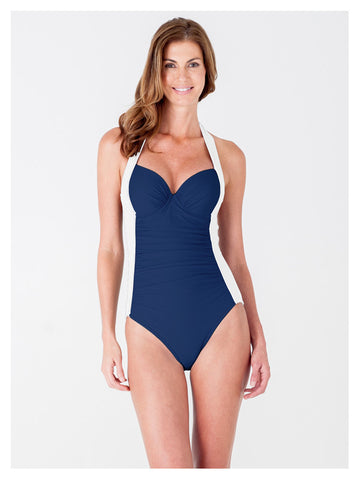 Lori Coulter Women's Navy Blue and Cream Underwire Color Blocked Retro Halter One Piece Swimsuit