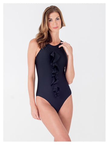 Lori Coulter Women's Black High Neck Open Back Ruffle One Piece Swimsuit
