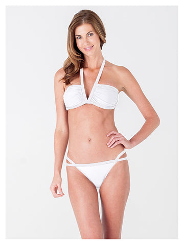 Lori Coulter Women's Cream Halter, V Neck Swimsuit Bikini Top with Ruching and Back Clasps