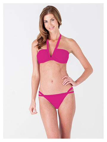 Lori Coulter Women's Pink Halter, V Neck Swimsuit Bikini Top with Ruching and Back Clasps