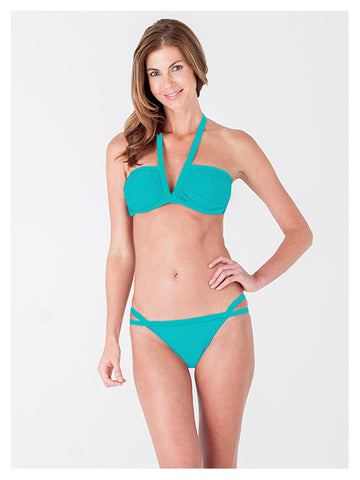 Lori Coulter Women's Turquoise Halter, V Neck Swimsuit Bikini Top with Ruching and Back Clasps